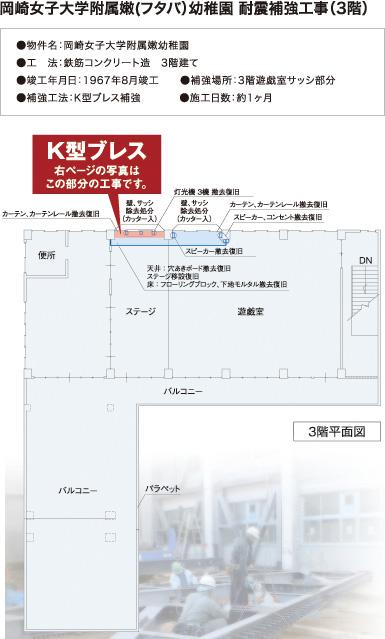 岡崎女子大学附属嫩(フタバ)幼稚園 耐震補強工事(3階)